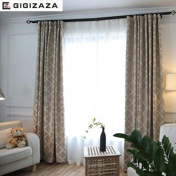 GA New Geometric print blinds fabric curtain for livingroom grey pink GIGIZAZA black out custom size american style for bedroom