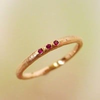 Rose Gold and Ruby Wedding Band stacking by PatrickIrlaJewelry
