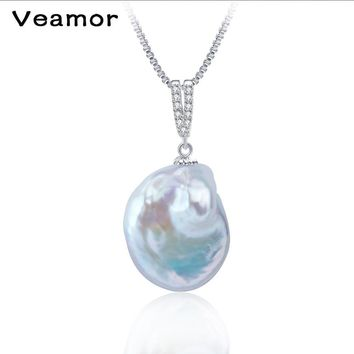 2017 New White color large size tissue nucleated flame ball shape baroque pearl necklace pendant freshwater 100% natural pearls