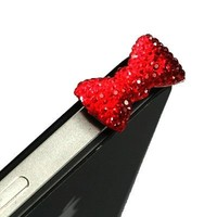Red / Earphone jack accessory / Bow Dust Plug / Ear Cap / Ear Jack For iPhone / iPad / iPod Touch /