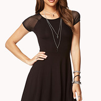Mesh Sleeve Skater Dress