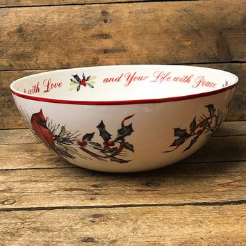 Lenox Winter Greetings - Fill Your Home with Joy Cardinal and Holly Bowl