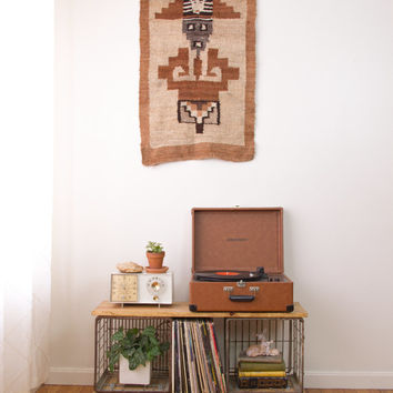 vintage woven tribal wool wall hanging / large wool textile hand woven wall tapestry / aztec wall art