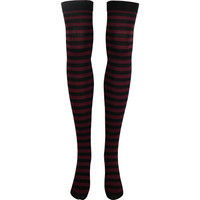 Stripe Opaque Thigh High Socks in Black and Burgundy