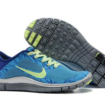 Women's Nike Free 4.0 V3 Print Shoes Dodger Blue/Royal Blue/Neon Green