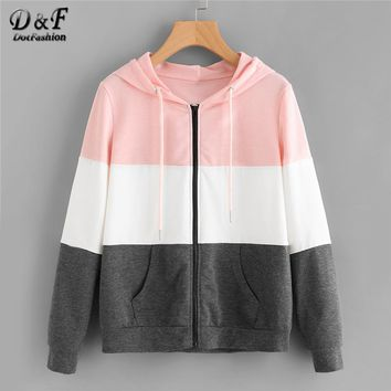 Dotfashion Drawstring Colorblock Cut And Sew Hoodie Jacket Female Casual Autumn Clothing Coats Spring Zipper Sports Outerwear