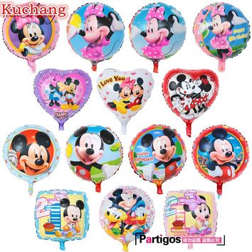 10pcs 18inch Cartoon Mickey Minnie Mouse Balloons Aluminum Foil Helium Globos Baby Shower Birthday Party Decorations Supplies
