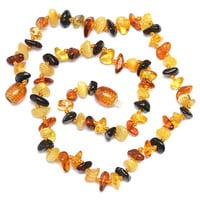 Multicolored Handmade Baltic Amber Teething Necklace for Babies - Safety Knotted - Genuine Amber - Delivery from USA