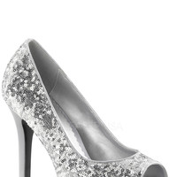 Silver Peep Toe Pump Heels Sequin
