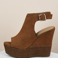 Chunky Platform Straw Wedge Ankle Strap Sandals