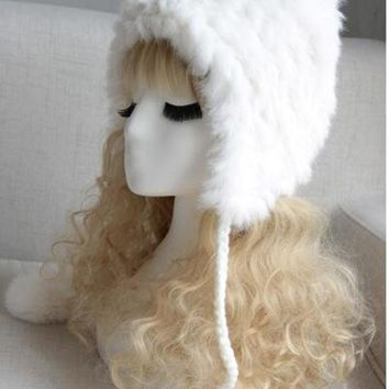 VONESC6 new winter fashion real rabbit fur hat fashion women fur cap elegant women warm hat cute style hat for girls