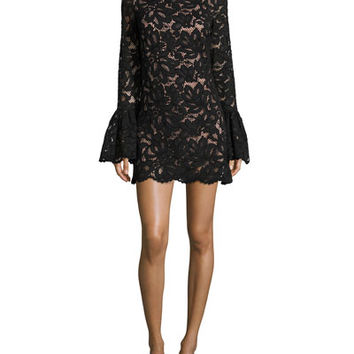 Alexis Rustam Lace Mini Dress, Black