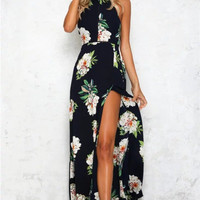 2017 Summer Off-the-shoulder Floral Printed Long Slit Maxi Dress [10436946575]