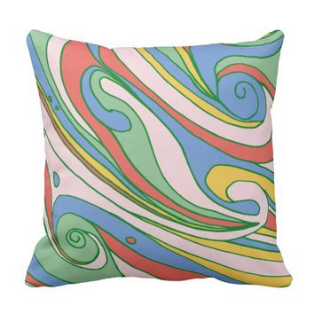 Colorful Waves Decorative Throw Pillow