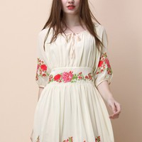 Rose Embroidered Chiffon Dress in Beige