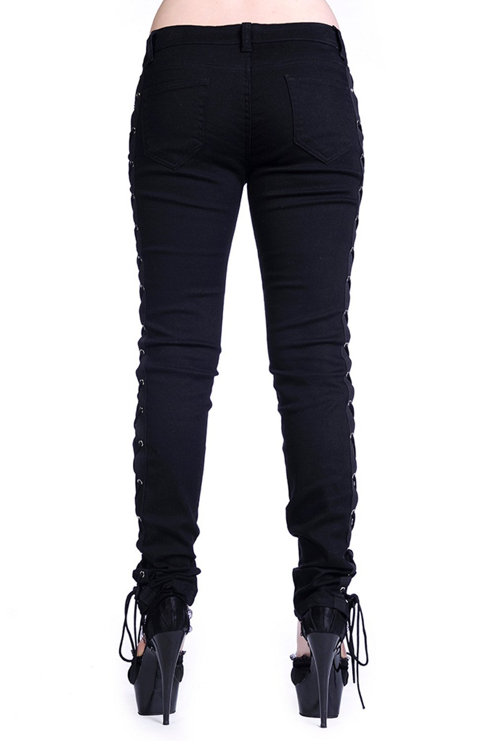 46ed38668f Gothic Rockabilly Steampunk Cyber Black Side Corset Skinny Jeans Pants