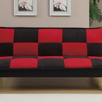 Microfiber Adjustable Sofa In Black And Red Checker By Poundex