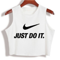 """Nike"" Fashion Sexy Casual Classic Letter Print Round Neck Sleeveless Vest T-shirt Crop Top"