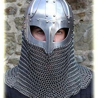 Hand-Forged Steel VIKING HELMET w/Chainmail -- norse/medieval/dark age/sca/armor