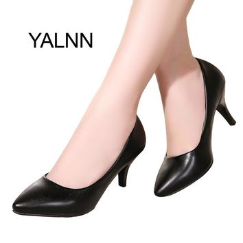 YALNN Fashion New High Heels Pumps Black Women Shoes Pump Girls Leather 7cm Thick Heel Black Shoes for Office Lady