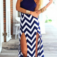 Hot stripe fork dress