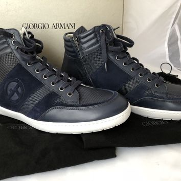 NIB $825 Giorgio Armani Men's Leather High Top Sneakers Blue 10 US X2Z005 Italy