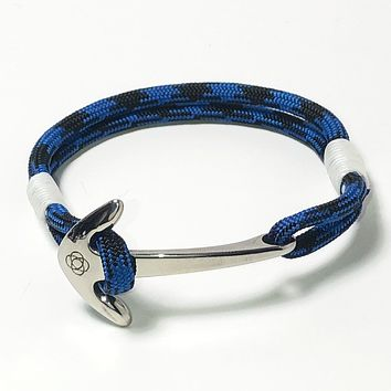 Black and Blue Nautical Anchor Bracelet Stainless Steel 098