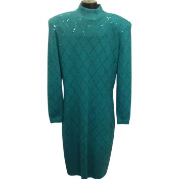 Vintage St John by Marie Gray green knit dress sz 10