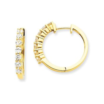 14k Yellow Gold AAA Diamond Hinged Hoop Earrings
