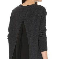 Mixed Media Open Back Sweater
