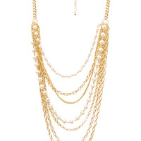 FOREVER 21 Layered and Lovely Statement Necklace Gold/Cream One