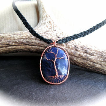 Sodalite Tree of Life Necklace on Braided Black Hemp, Pagan Shaman Wicca Healing Talisman, Norse Yggdrasil, Indigo Blue and Black Necklace