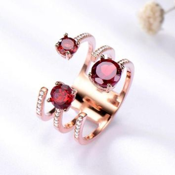 1.37ct Genuine Natural Garnet Solid 925 Sterling Silver Double Ring Luxury Gemstone Wedding Rings For Women Fine Jewelry