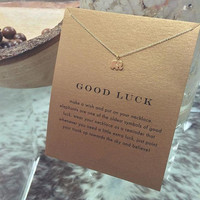 Good Luck Elephant Pendant Necklace Gold Dipped Clavicle Chains Statement Necklace Women's Jewelry With Card
