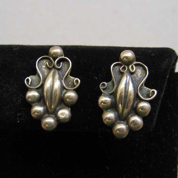 Antique Sterling SIlver Mexican Screwback Earrings