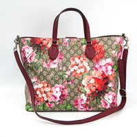 Gucci Women's GG Supreme Canvas Logo Blooms Pink Burgundy Shopping Tote 453705