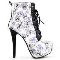 Blue Skull Floral Black Lace Up Gothic Ankle Boots