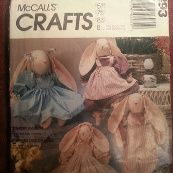 Uncut 1980's McCall's Sewing Pattern, 893! Country Rabbits/Stuffed Bunnies with Doll Clothes/Bloomers/Dress/Shirts/Bonnets/Baby Bunny