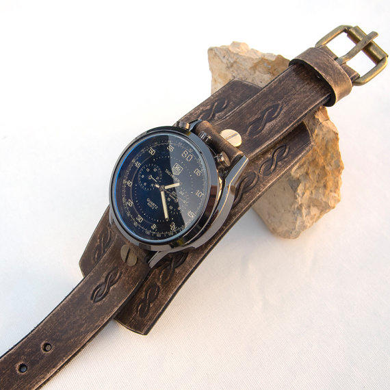 mens leather watch distressed brown cuff from jullyet on