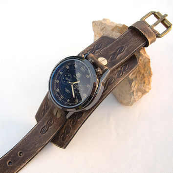 Mens Leather watch, Distressed brown cuff watch, Army, Sport military wrist watch, Men leather cuff watch