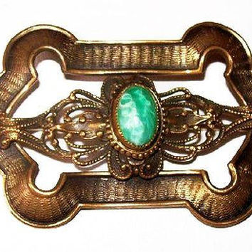 "Victorian Brooch Peking Green Glass Stone Brass Metal Antique 2.5"" Vintage"