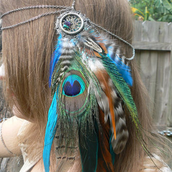 head chain peacock pheasant feather head chain headdress halo head piece in tribal Native American boho gypsy hippie hipster style