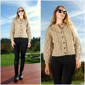 70's Irish wool Sweater Cardigan, Beige Cable Knit Sweater , An Irish Tradition Hand knit Sweater, Chunky Knit Cardigan Size Medium