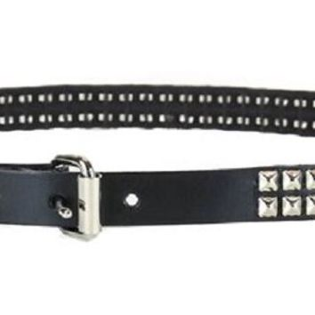 "2-Row Silver Mini Pyramid Stud Leather Belt 3/4"" Wide"
