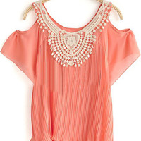 Pink Crochet Floral Neck Cold Sleeve Chiffon Pleated Blouse - Sheinside.com
