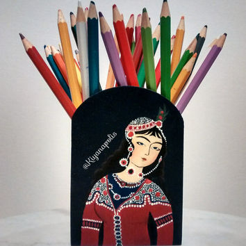 Hand Painted pencil holder, Norooz gift, Persian Gift, Persian art, Middle Eastern, Iranian New Year, Iranian Art Persian New Year, iran