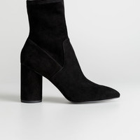 Suede Sock Boots - Black - Ankleboots - & Other Stories