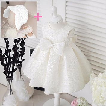 White Flower Girls Dresses Bowknot Princess Wedding Gown dress for 1 year birthday baby girl baptism dress Vestido Infantil