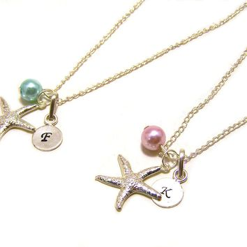 Custom Initial Hand Stamped, Silver Starfish and Glass Pearl Personalized Sterling Silver Necklace /  Gift for Her