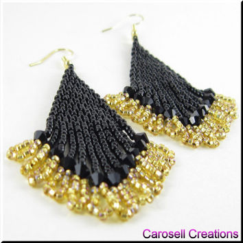 Sexy Lady Beadwork Dangle Chandelier Seed Bead Earrings Black and Gold